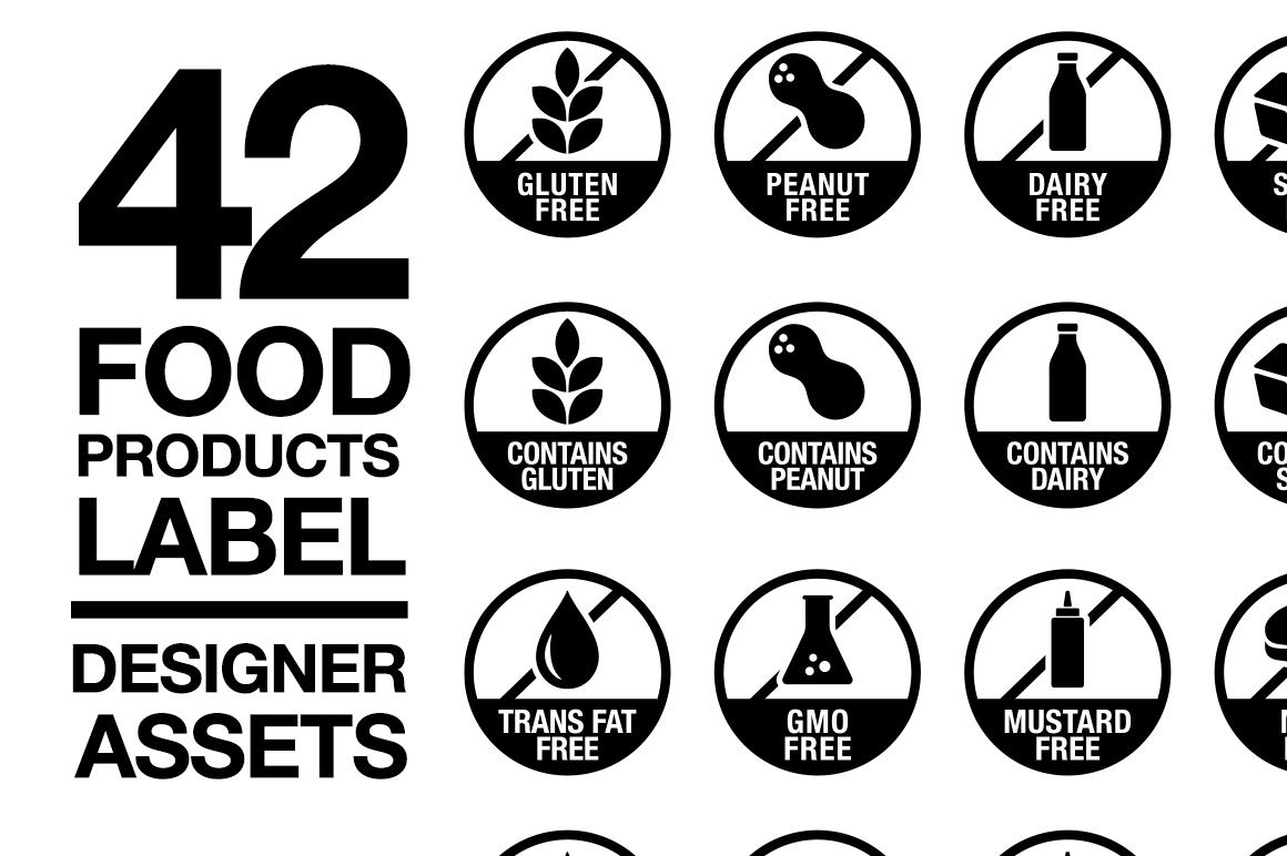 42 Food Allergy & Products Label Version 2 SVG AI EPS example image 1