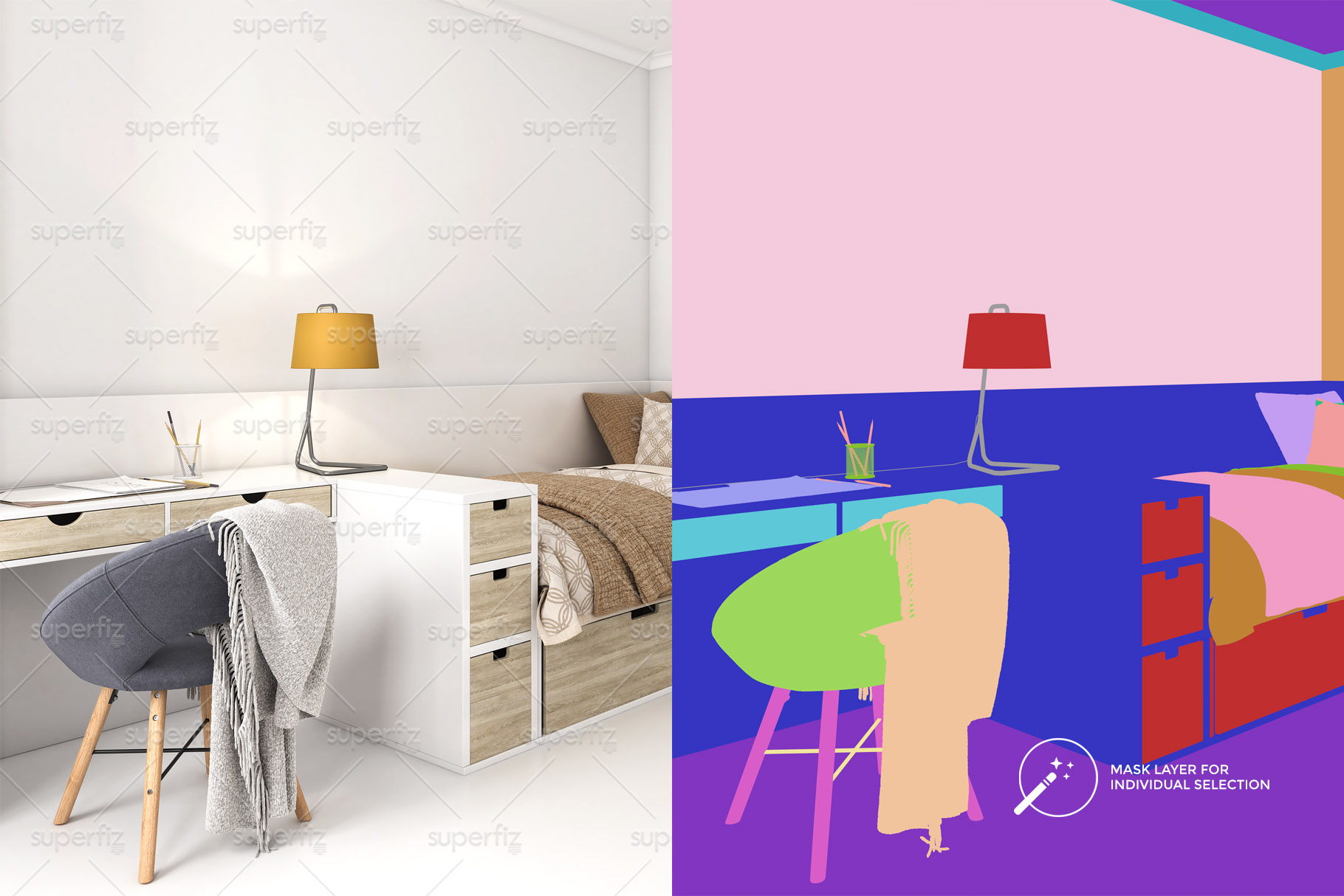 Wallpaper, floor and carpet Mockup Kids Bedroom SM62 example image 2