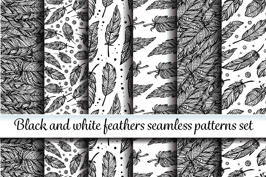 Black and white seamless patterns set example image 1