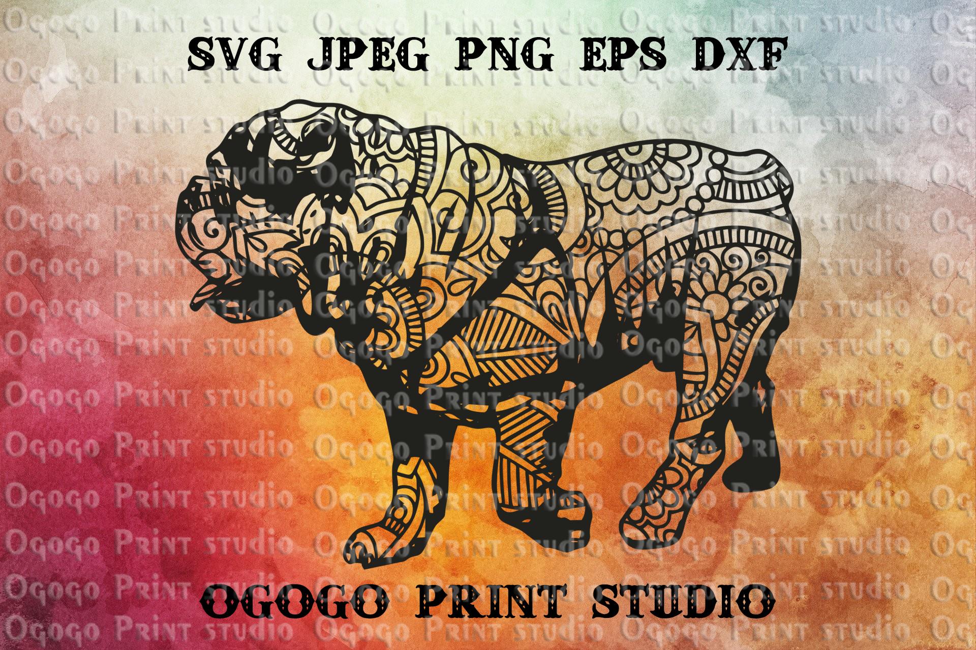 Mandala style English Bulldog SVG, Zentangle svg, Pet svg example image 1