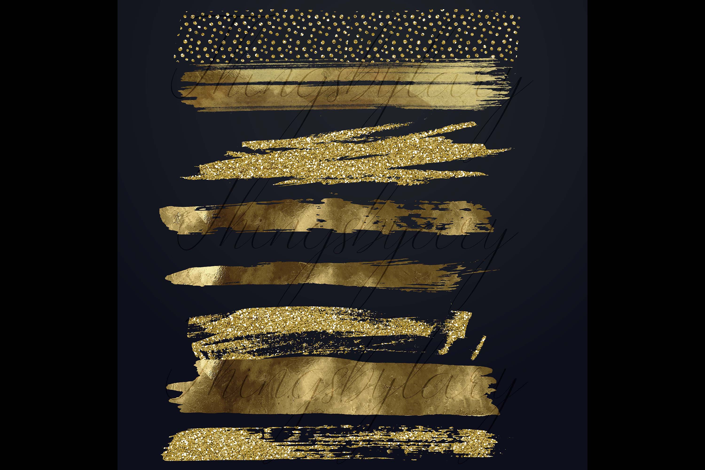 33 Gold Glitter and Black Hand Drawn Brush Strokes Images example image 9
