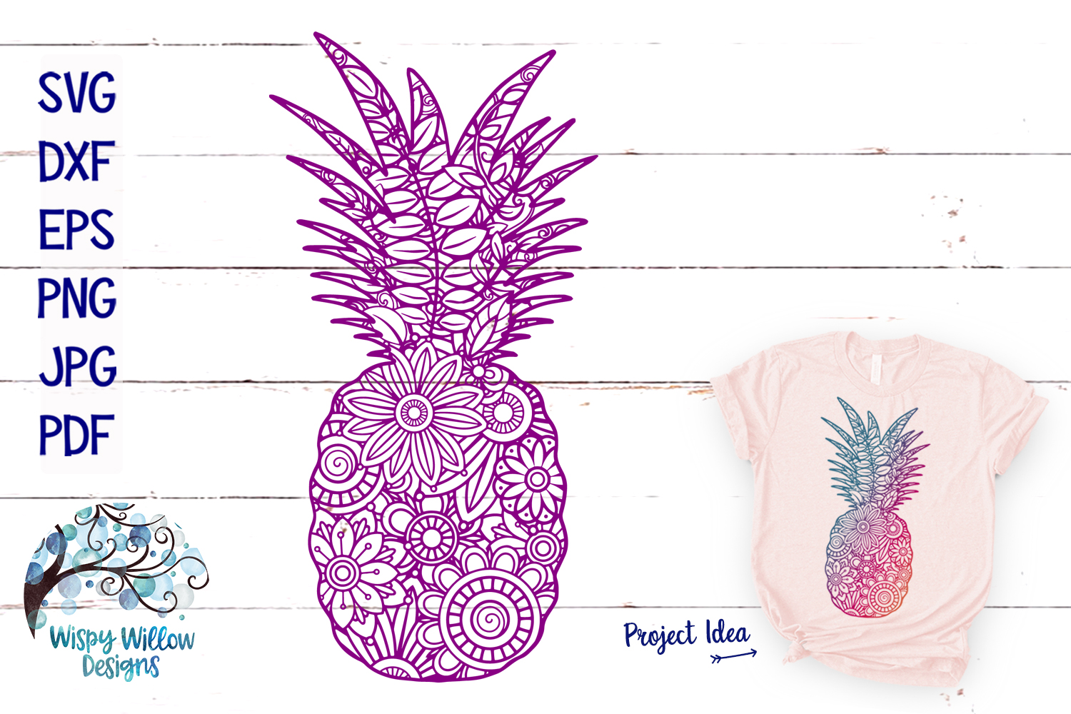 The Summer Zentangle SVG Bundle | Mermaid | Pineapple example image 2