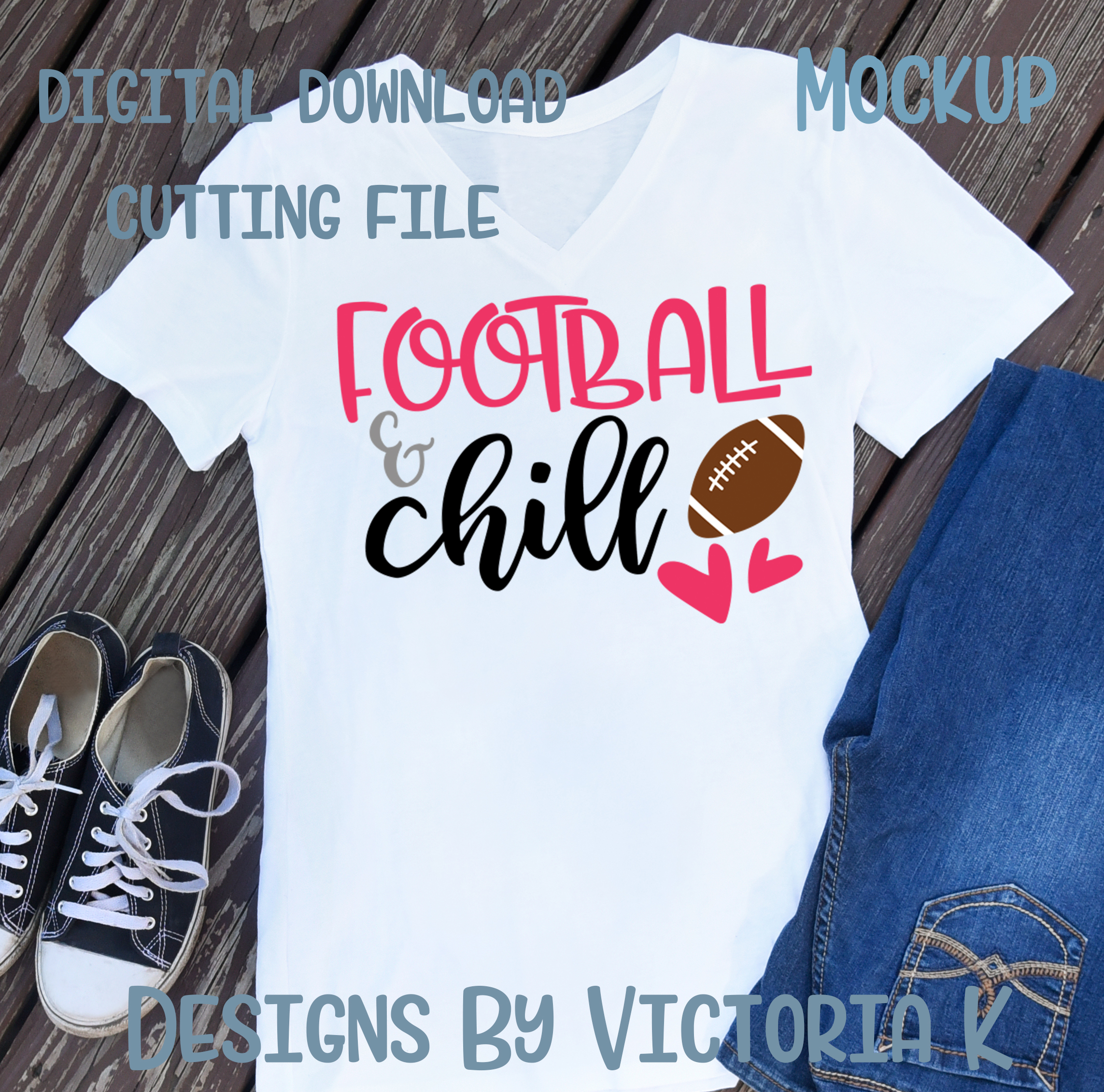 Football and Chill, SVG, DXF, PNG example image 2