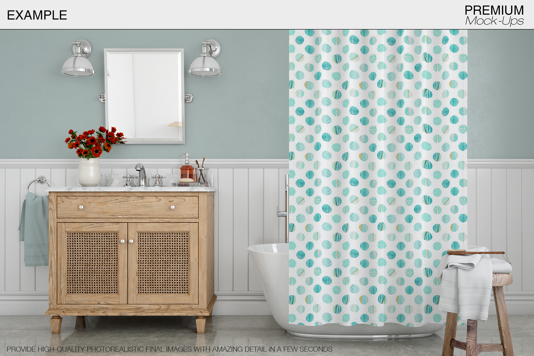 Bath Curtain Mockup Pack example image 8