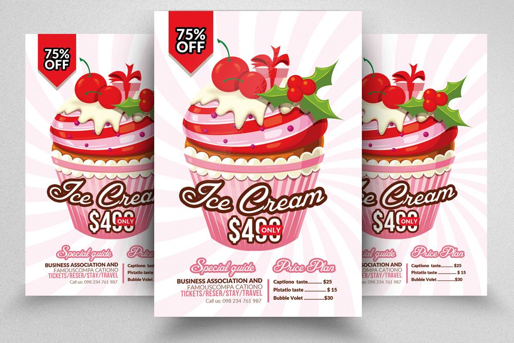 10 Ice Cream Discount Flyer Template Bundle example image 2