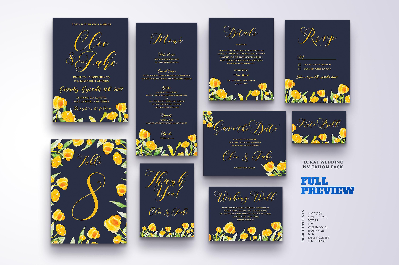 Floral Wedding Invitation Bundle example image 11