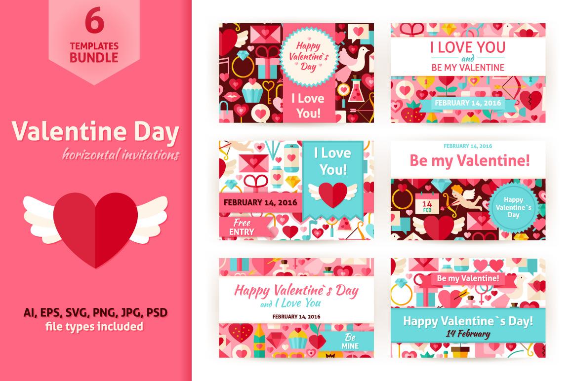 Valentines Day Horizontal Invitation example image 1