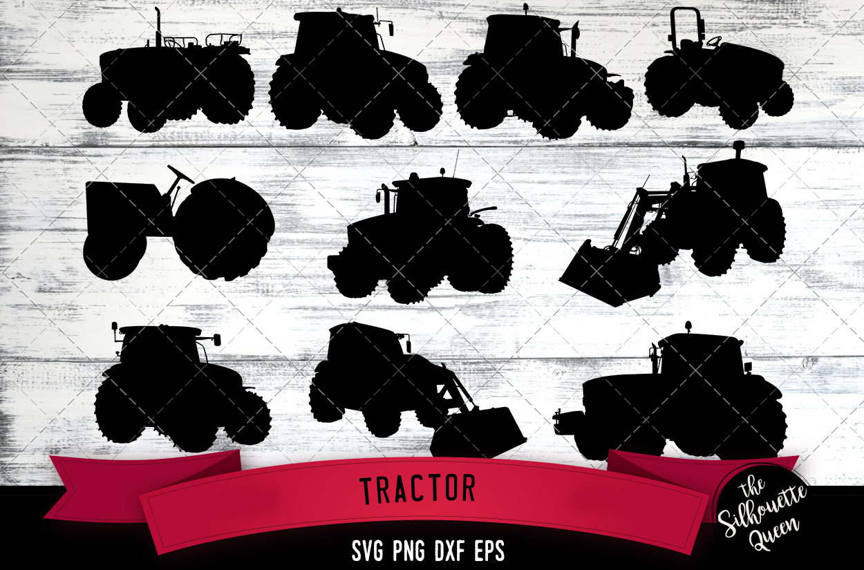 Tractor svg file, farm svg cut file, silhouette studio example image 1