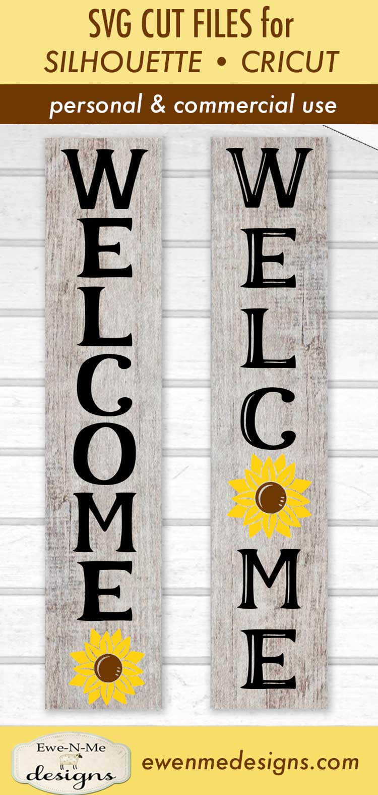 Welcome Sunflower Vertical Porch Sign SVG Cut File example image 3