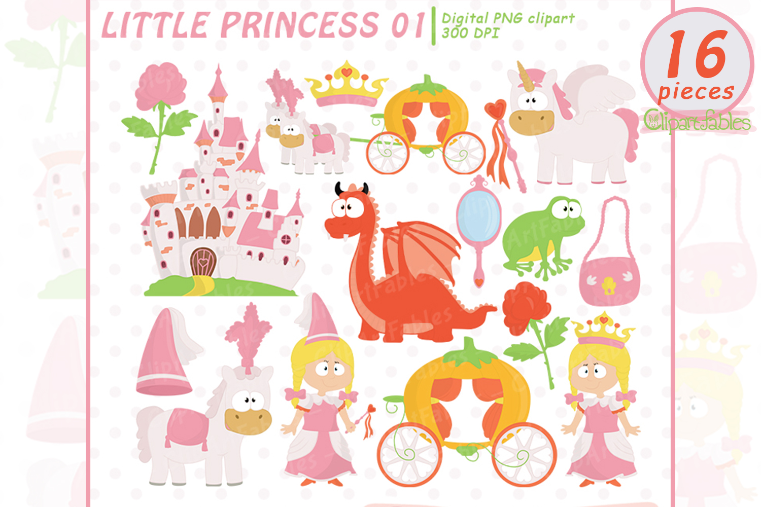 Little PRINCESS clip art, Pink Fairy tale clipart - INSTANT example image 1