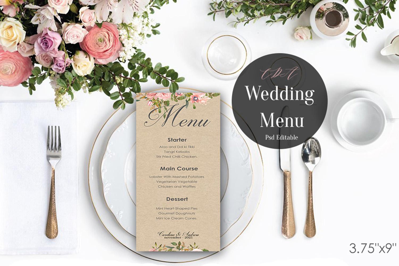 Vintage Wedding Menu Template   PSD Instant Download example image 3