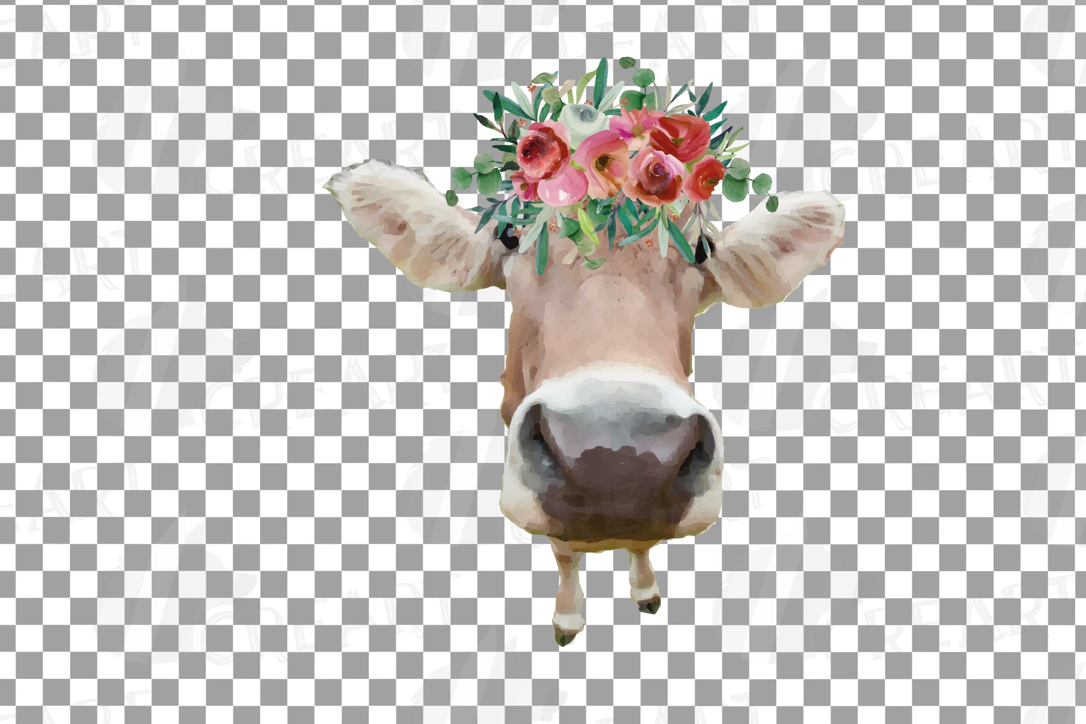 Not today Heifer printable shirt, mug, card floral cow png example image 3