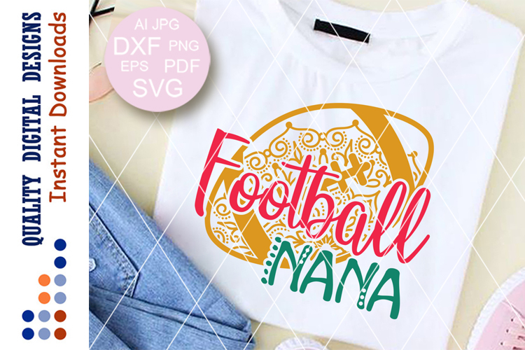 Football nana svg files Zentangle Football ball Clipart example image 1
