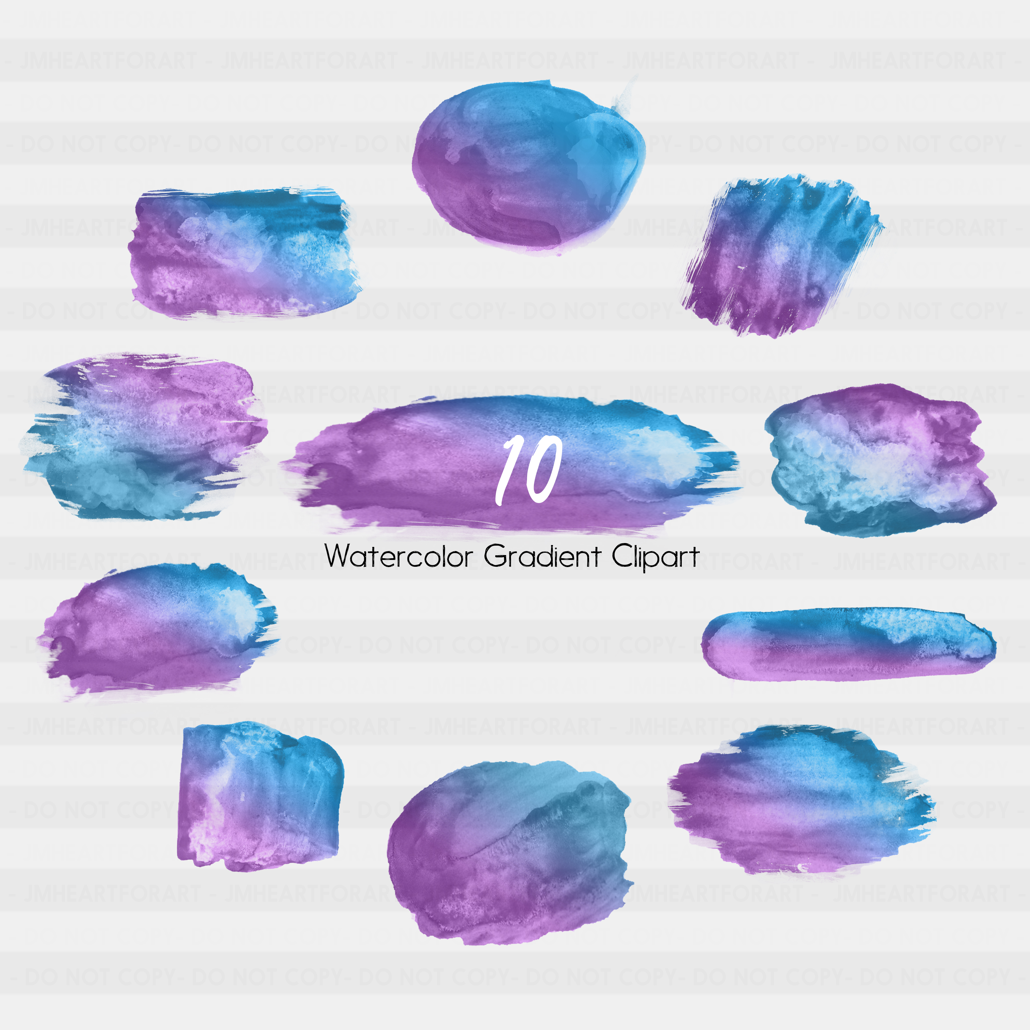 Brush Strokes-Watercolor clipart-Watercolor splashes-splatter clipart-Planner clipart-commercial use-Blue-Purple-Gradient Clipart-Sticker example image 2