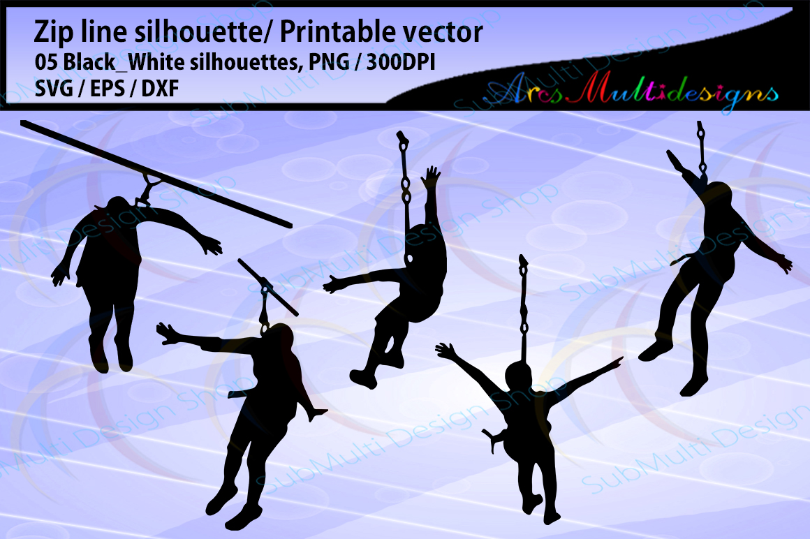zip line silhouette / zip line ride silhouette / SVG vector / zip line clipart / Commerical use / Digital File vector example image 1