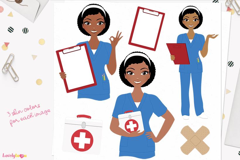 Woman nurse character clip art L068 Neve example image 1