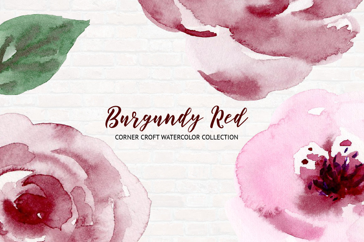 Watercolor Collection Burgundy Red example image 5