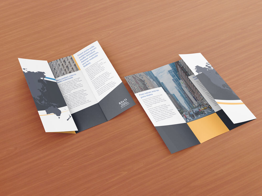 8.5 x 11 Double Gate Fold Brochure Mockups example image 8