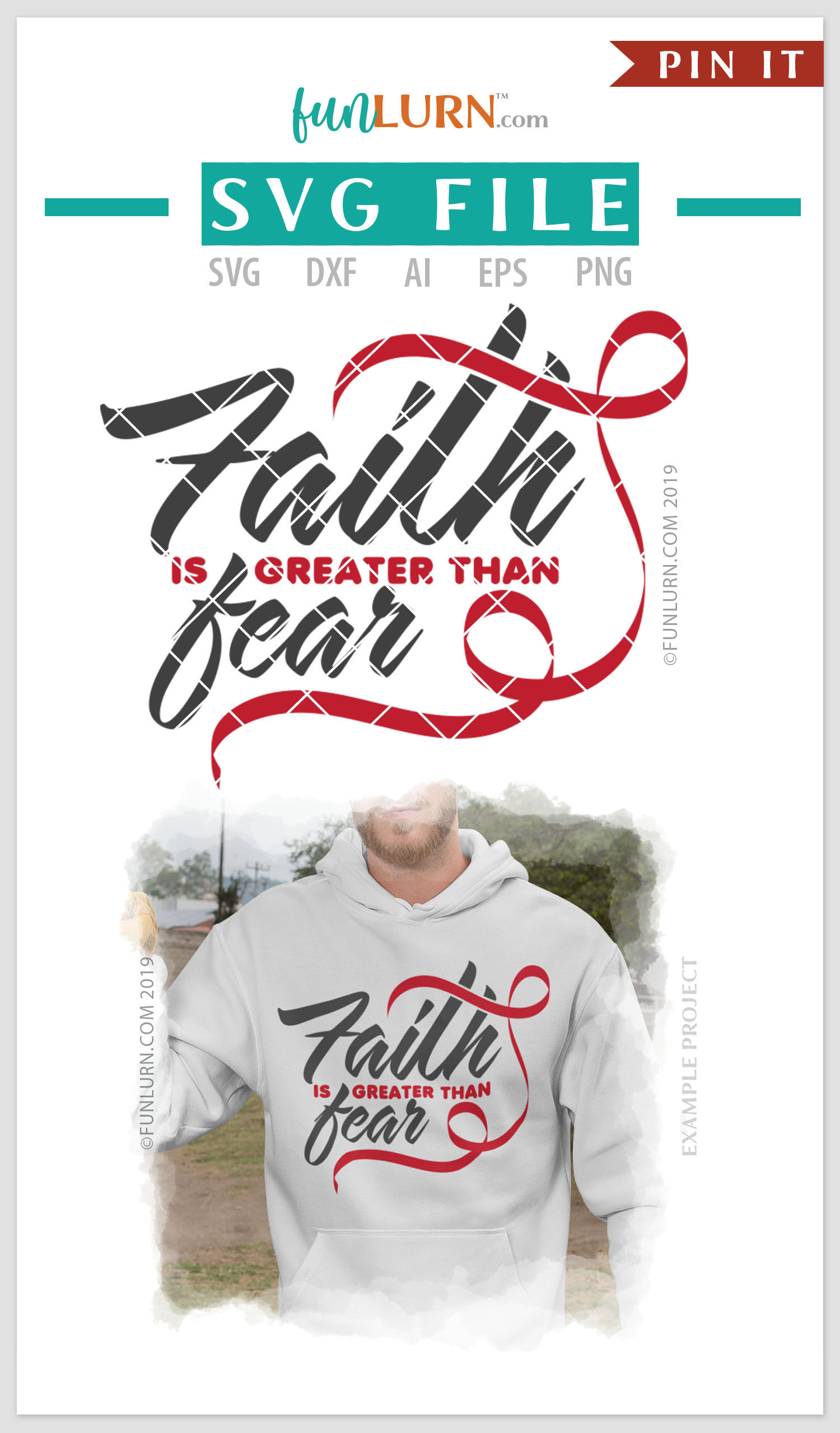 Faith is Greater Than Fear Red Ribbon SVG Cut File example image 4