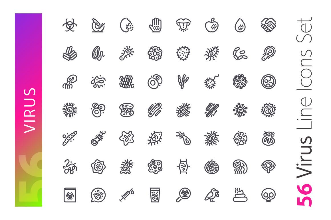 Virus Line Icons Set example image 2
