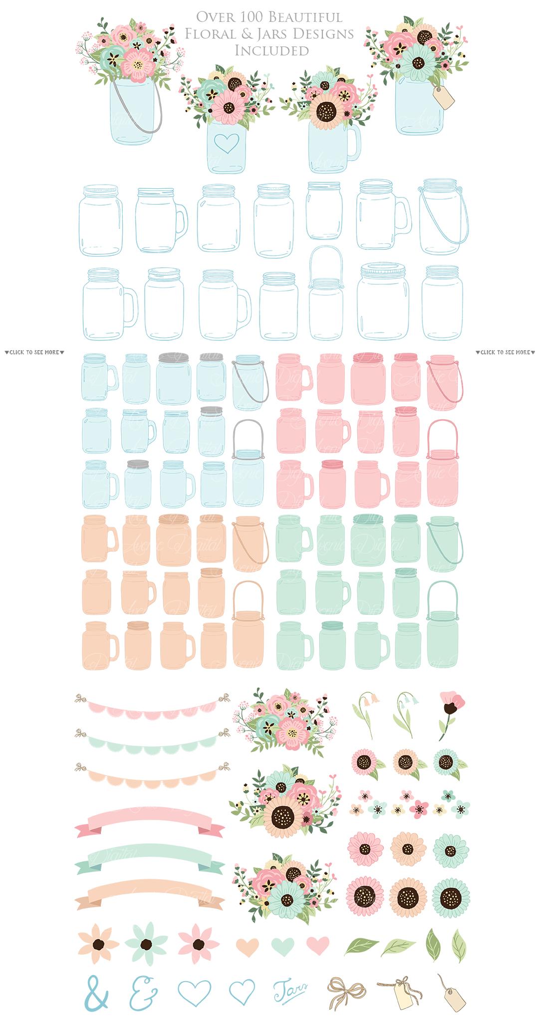 Pink and Mint Mason Jar Wedding Clipart example image 2