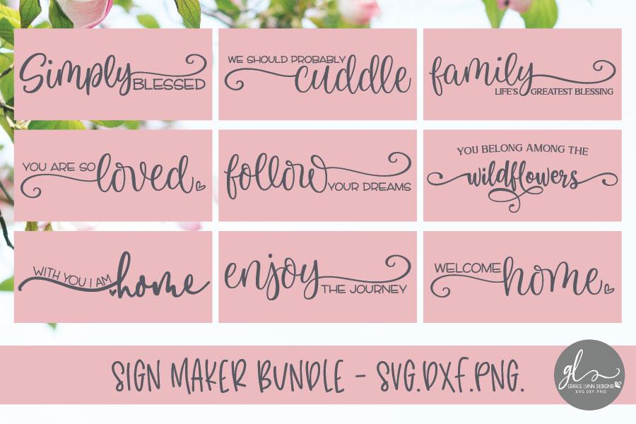 Sign Maker Bundle - 9 Designs - SVG, DXF & PNG example image 1