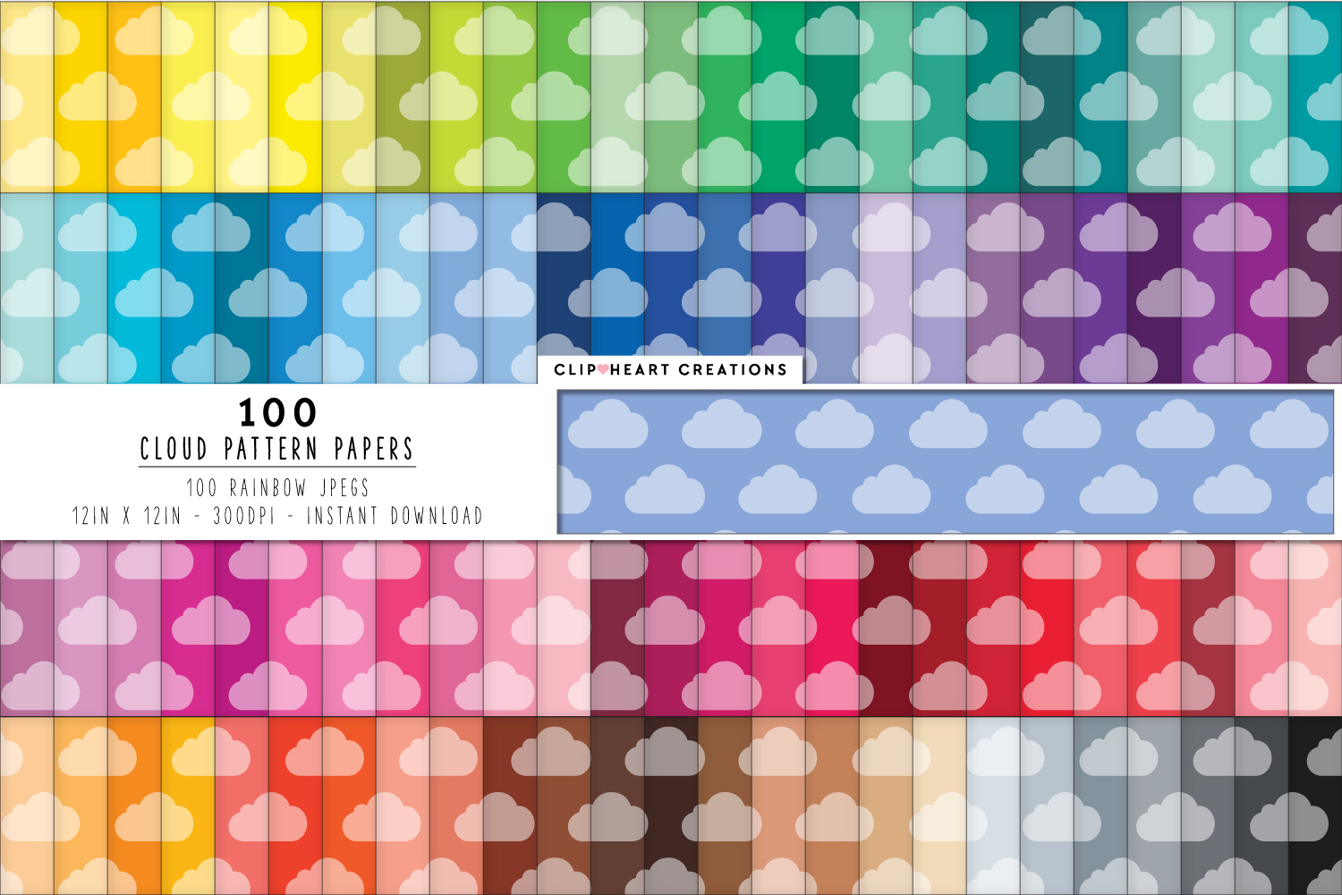 100 Tinted Cloud Pattern Digital Papers - rainbow colors  example image 1