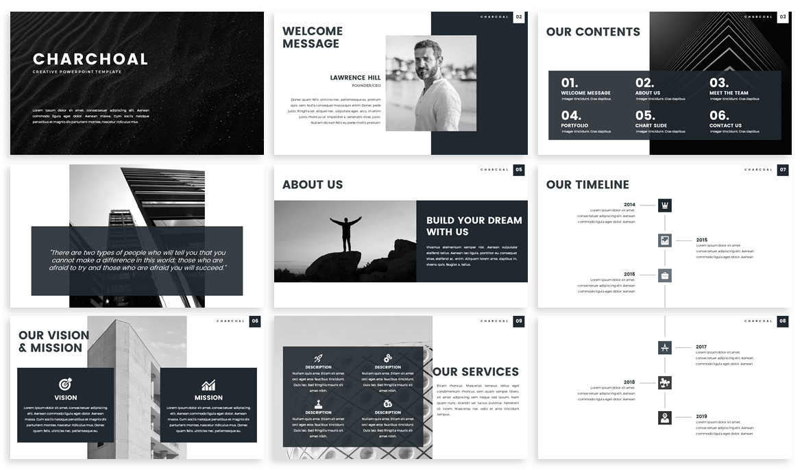 Charcoal - Monochrome Powerpoint Template example image 2