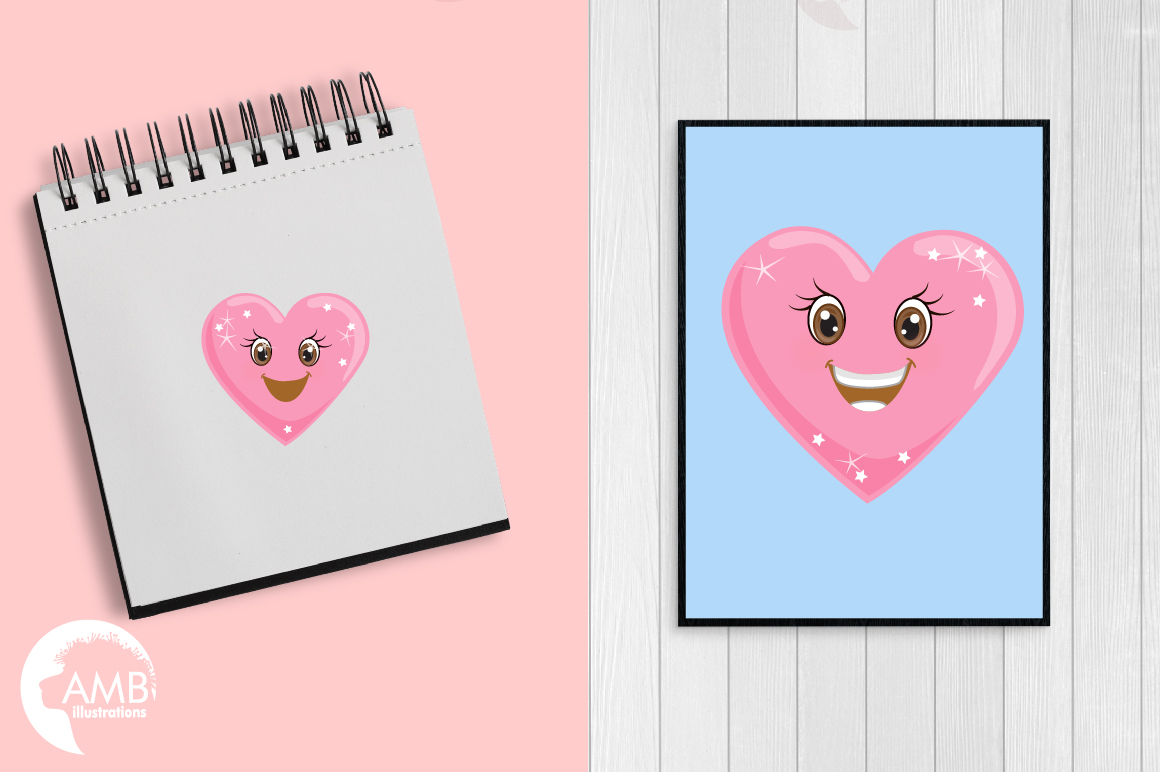 Valentine faces clipart, Heart emojis clipart, graphics illustrations AMB-1172 example image 5