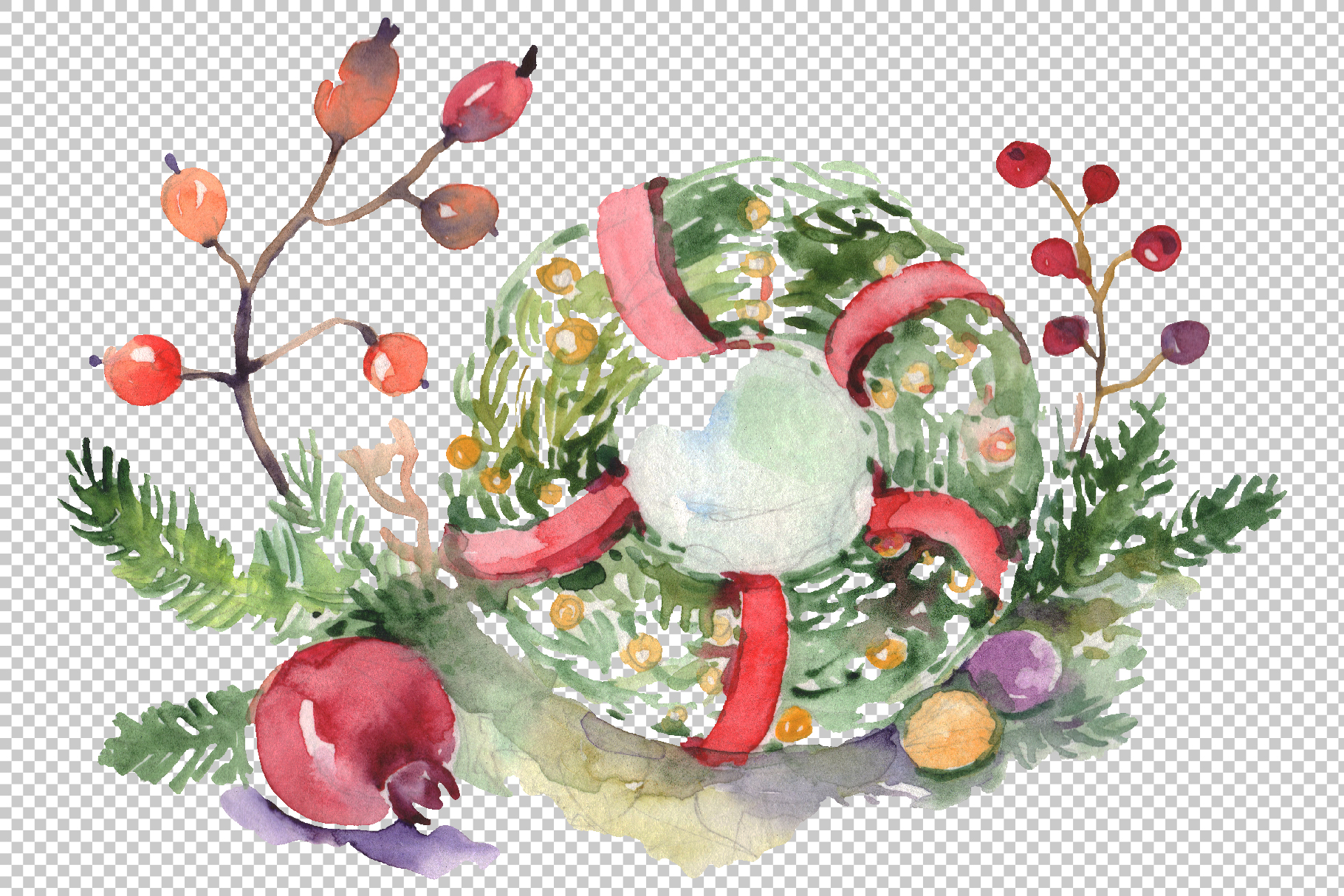 Christmas bouquet warmth of the soul Watercolor png example image 2