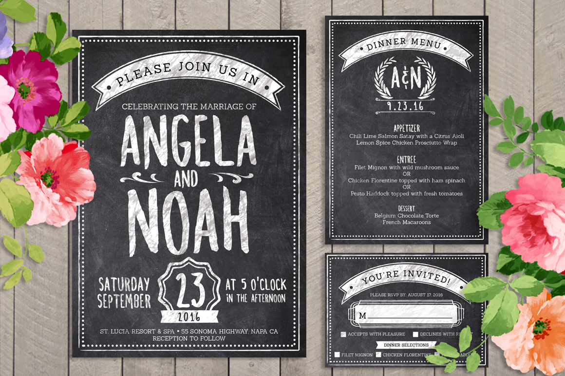 Chalk Wedding Invite Bundle example image 1