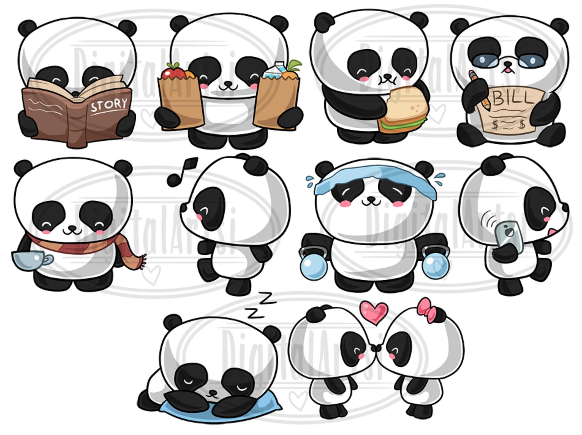 Kawaii Pandas Clipart (127160) | Illustrations | Design ...