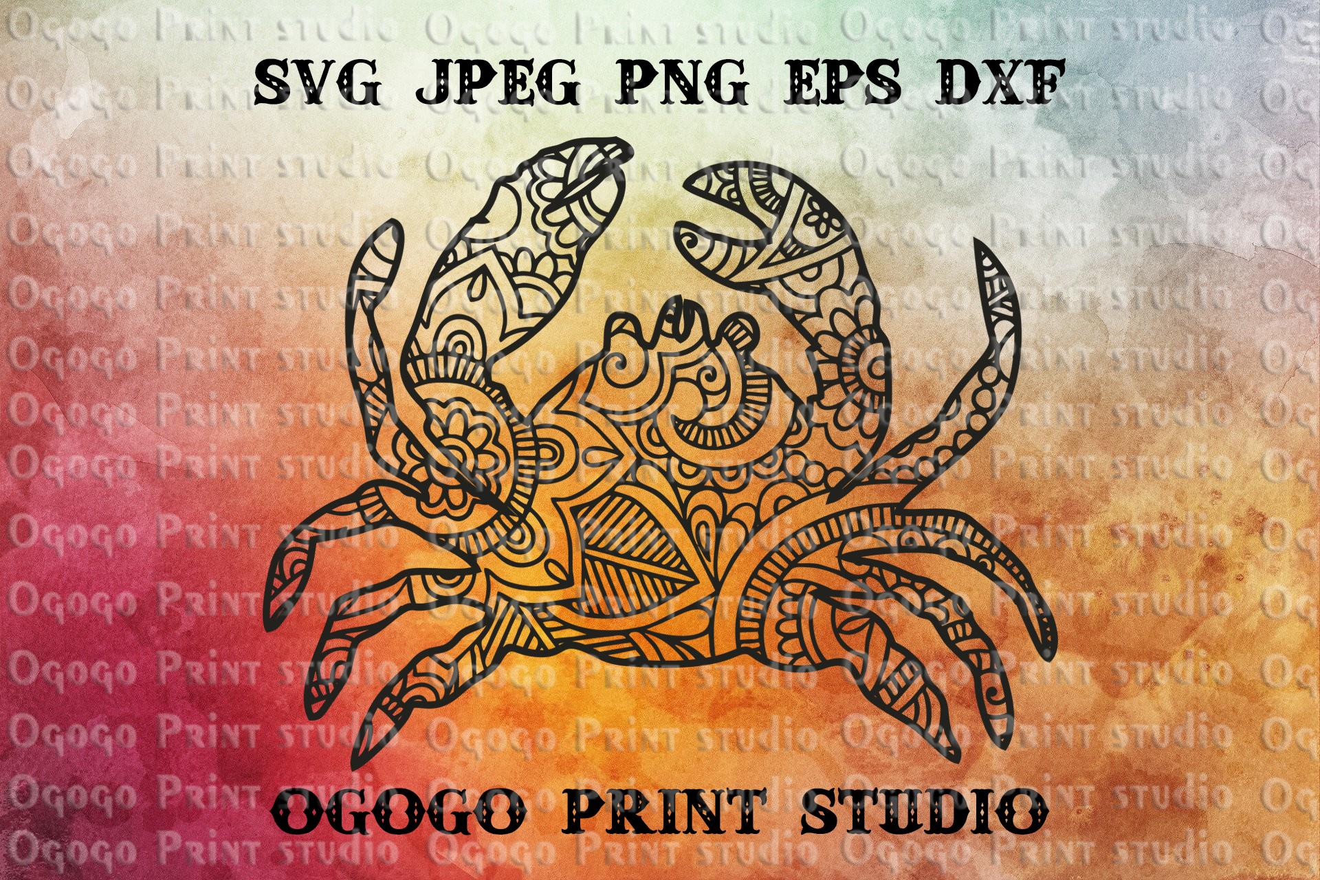 Crab SVG, Zentangle SVG, Mandala svg, Beach svg, Sea animal example image 1