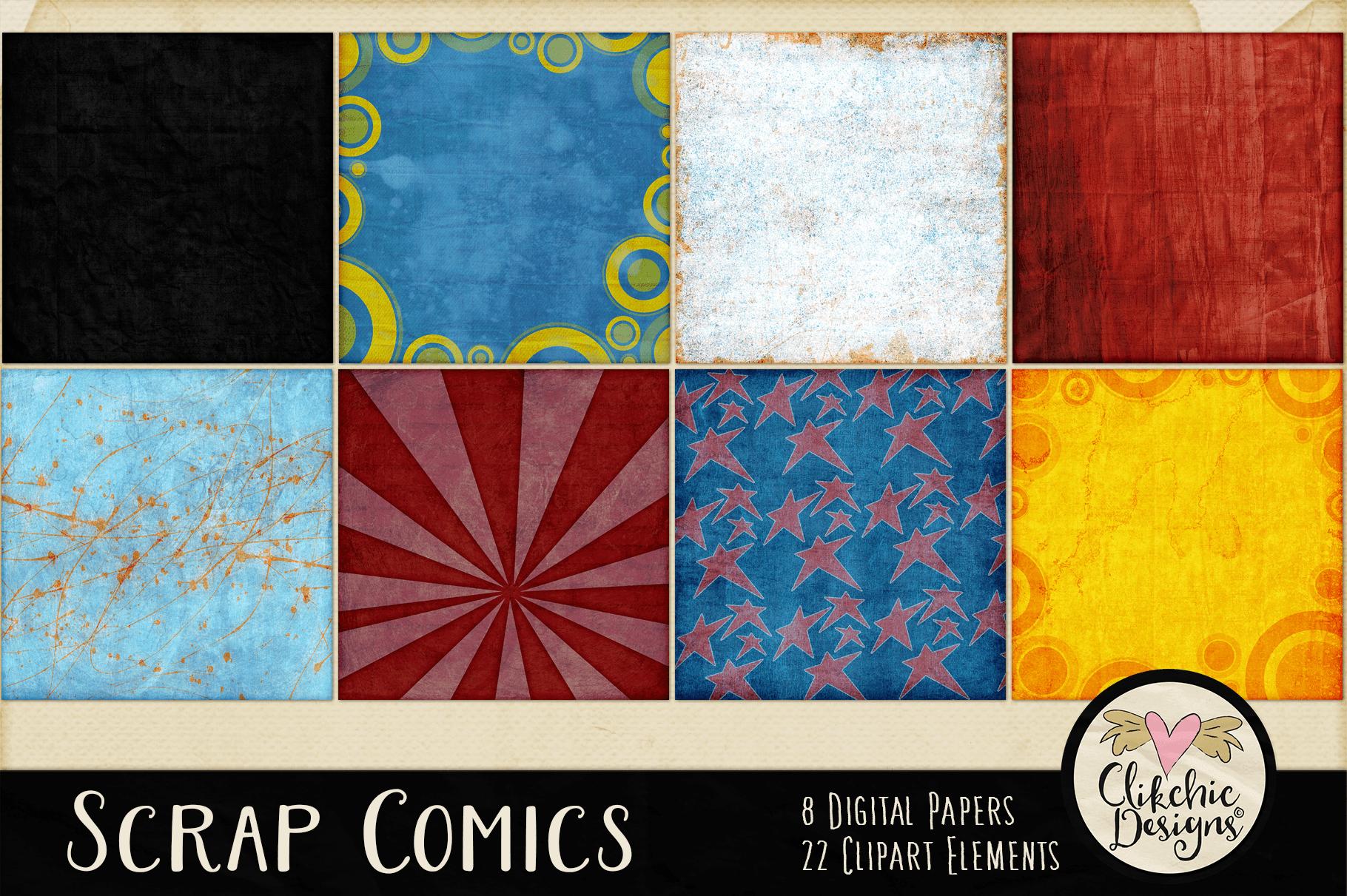 Digital Scrapbook Kit - Scrap Comics Super Hero Clipart Kit example image 3