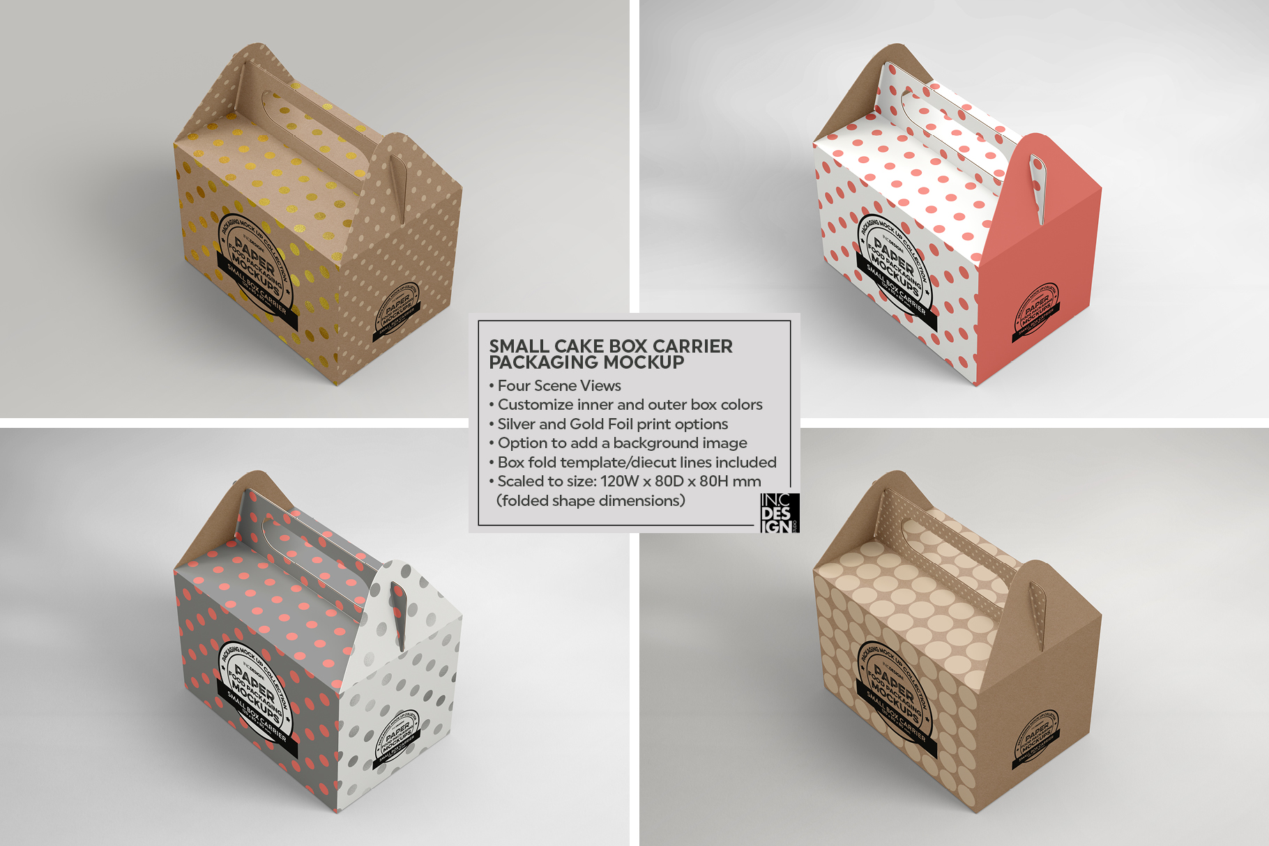 Small Cake Box Carrier Packaging Mockup example image 4