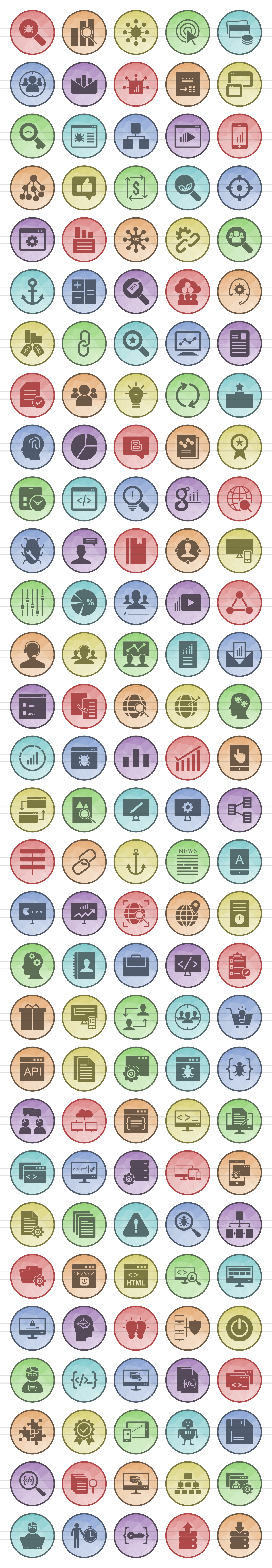 150 SEO & Development Filled Low Poly Icons example image 2