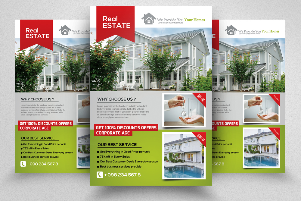 4 Real Estate Flyers Bundle example image 2
