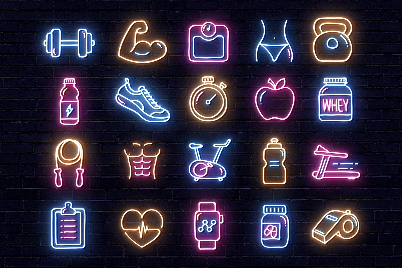 Gym Instagram Icons - Neon Design example image 2