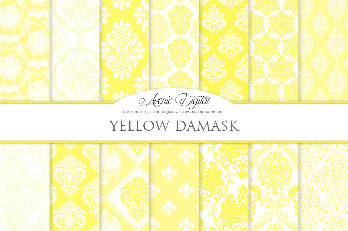 28 Yellow Damask Patterns - Seamless Digital Papers Bundle example image 1