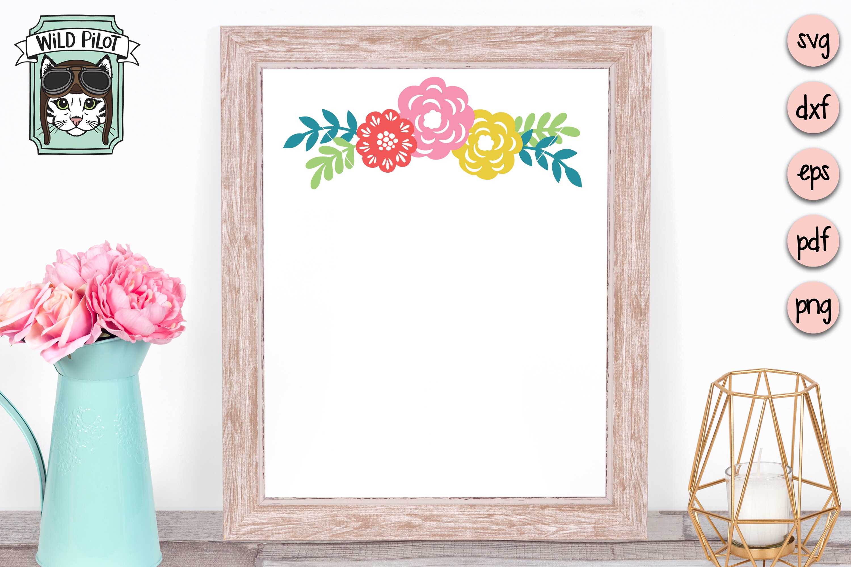 Flowers SVG file, Floral cut file, Flower Border, Stencil example image 2