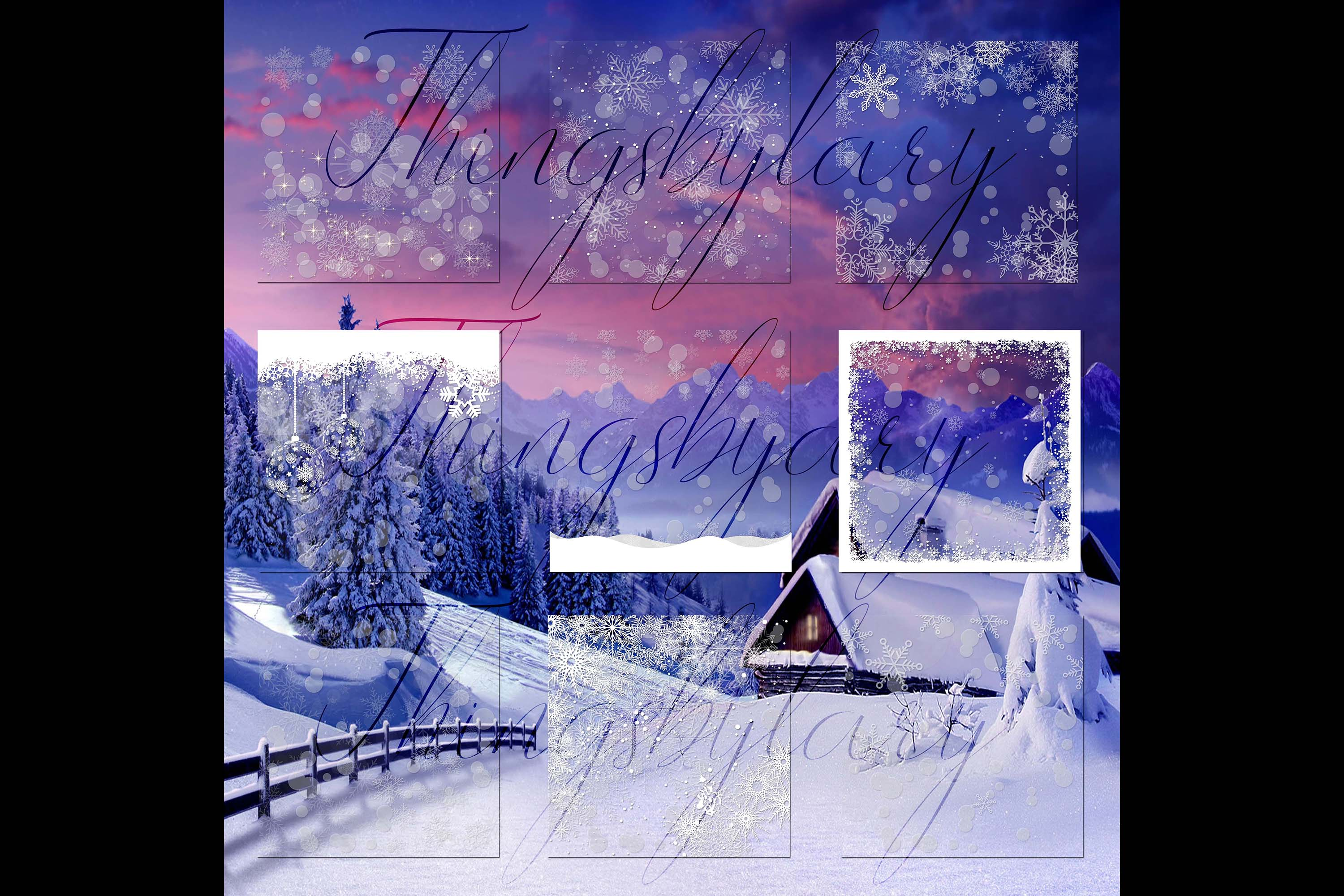 27 Falling Snowflakes Overlay Digital Images PNG Transparent example image 9