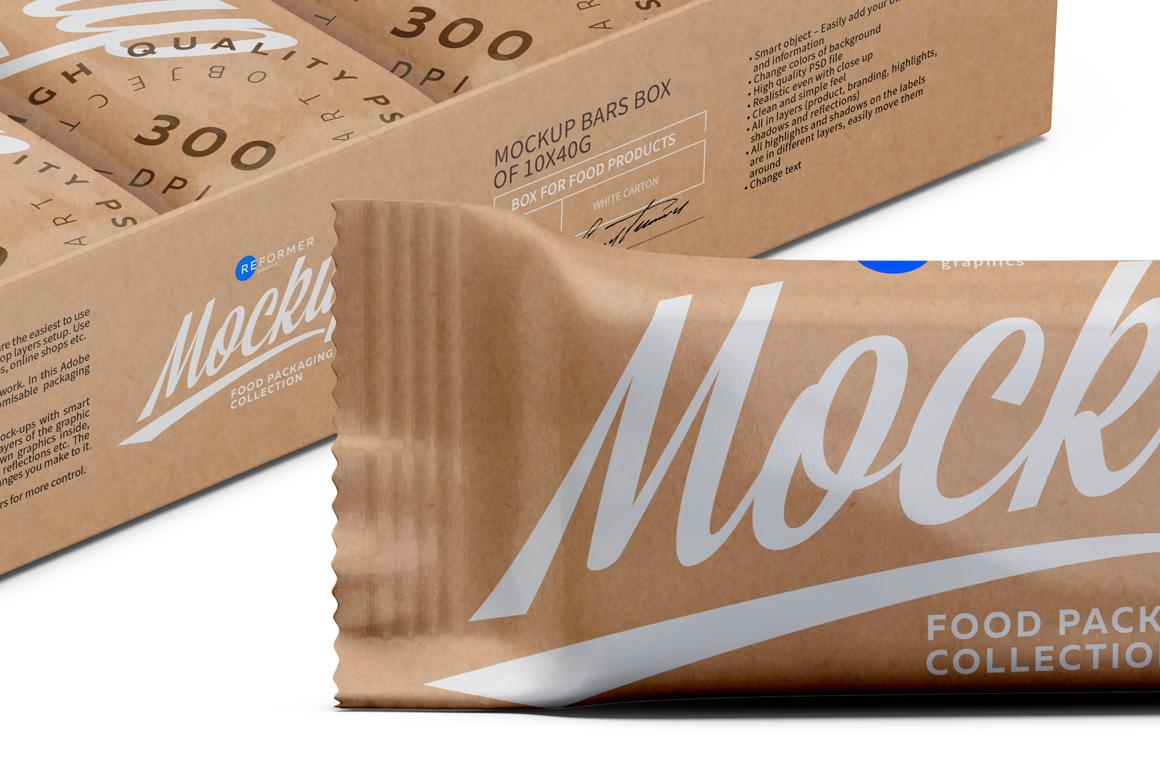 Kraft Bars and Box of 10x40g Mockup example image 3