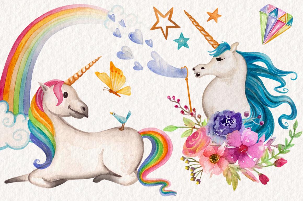 Watercolor Unicorns Graphics example image 3