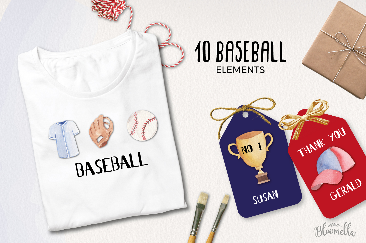 Watercolor Baseball Elements example image 2