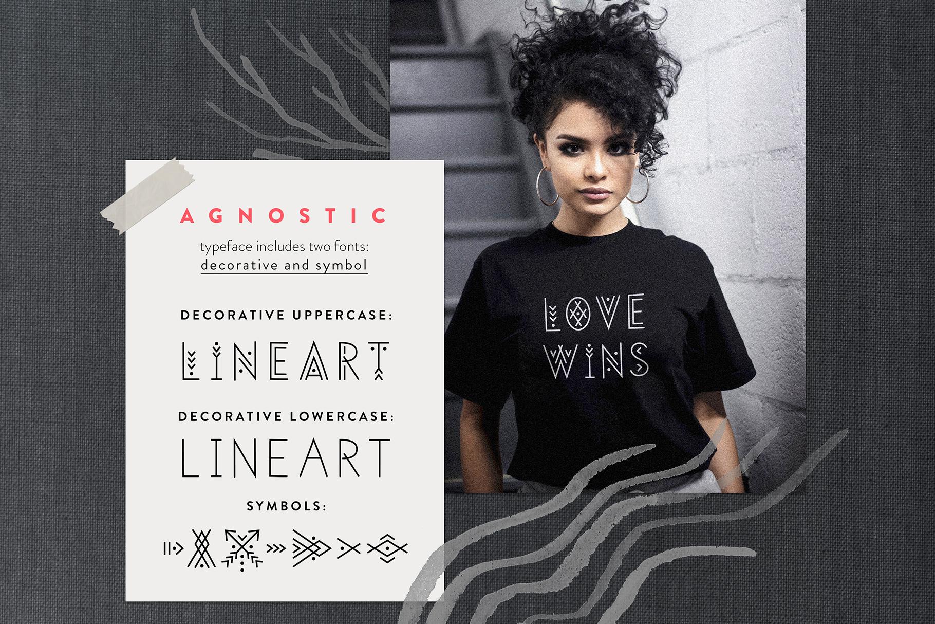 Agnostic - Thin Line Geometric Font example image 2