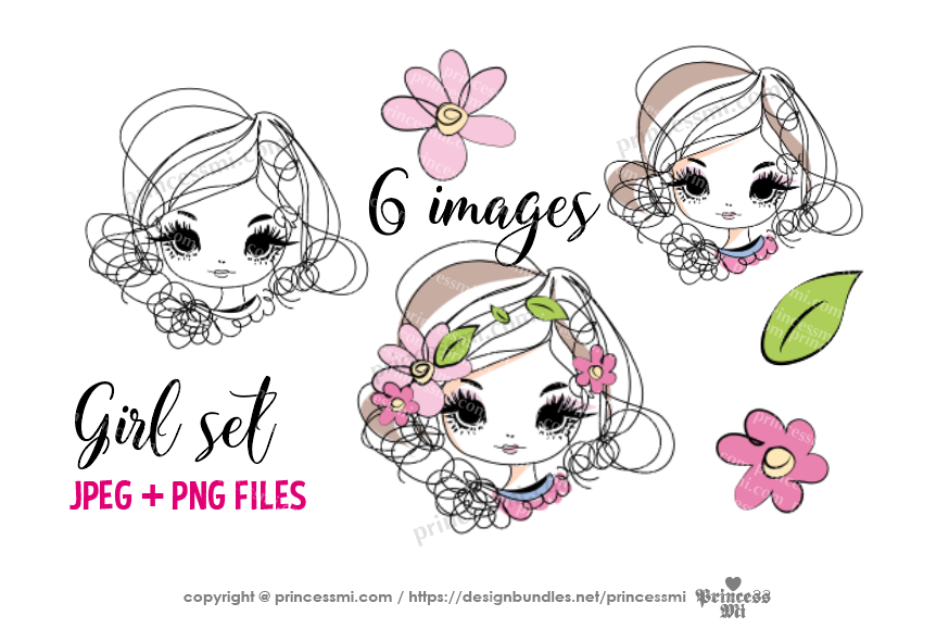 hand drawn pretty girl art set, girl face with flowers example image 2