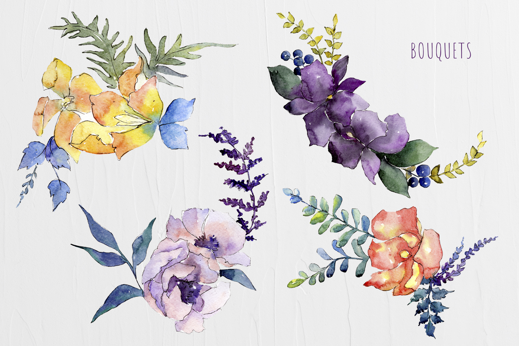 Watercolor Bouquet Summer Garden png example image 2