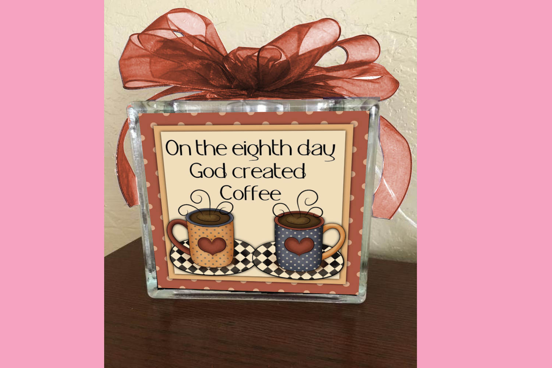 God Created Coffee Square Print example image 2
