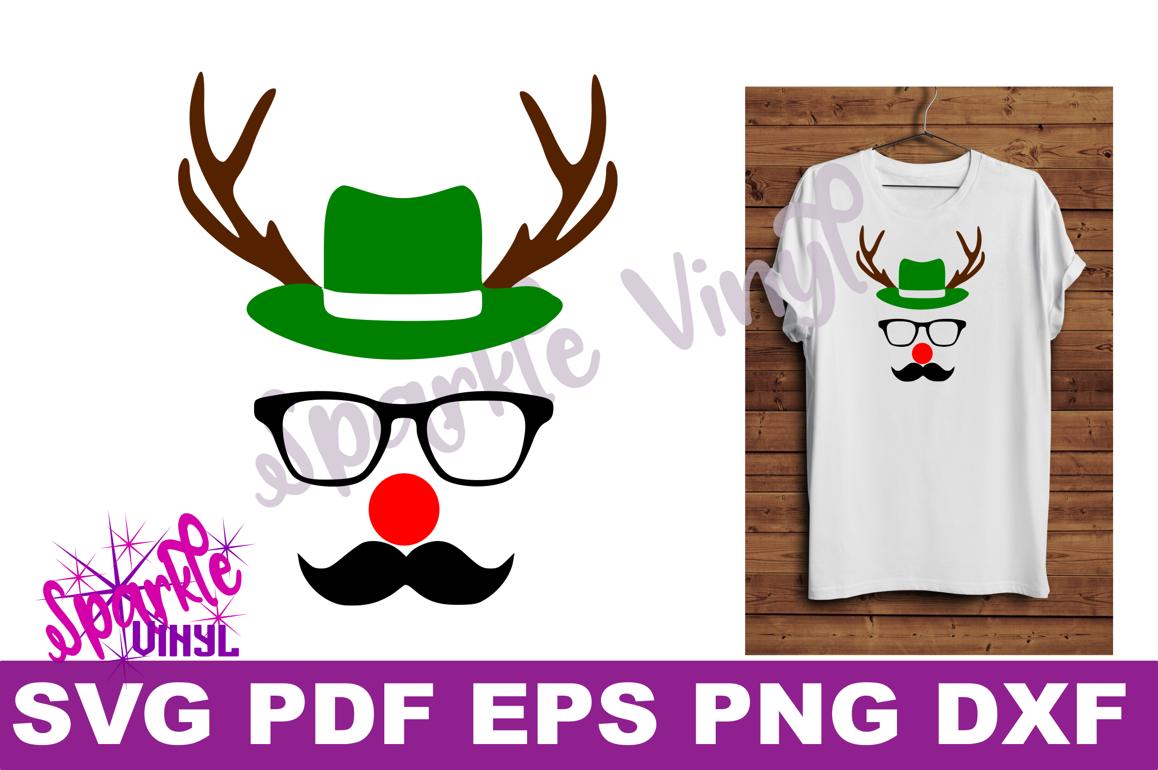Svg Christmas Reindeer face ladies shirt tshirt outfit with hat glasses mustache red nose antlers svg files for cricut silhouette printable example image 2