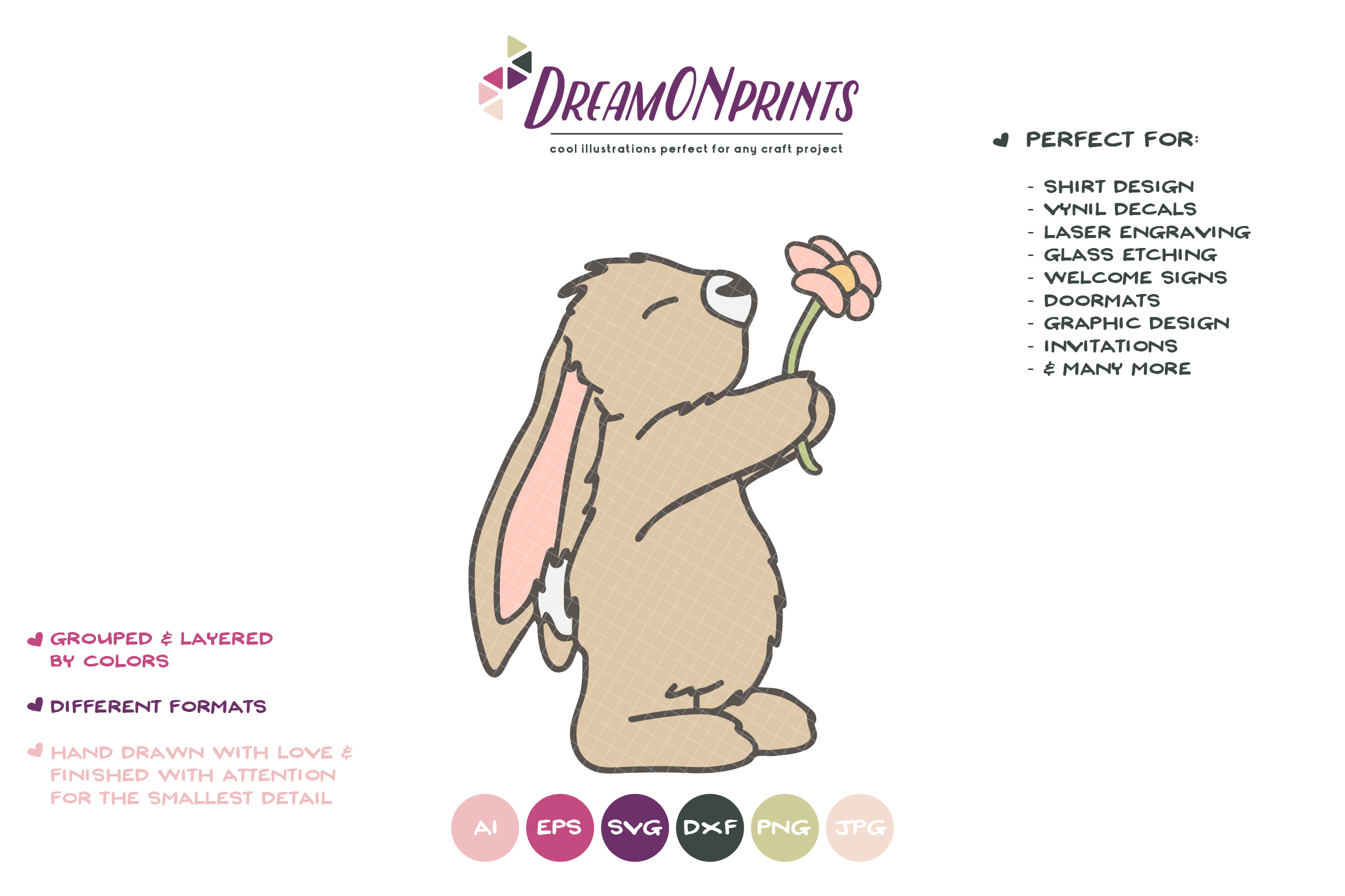 Little Bunny with Flower SVG - Mother's Day SVG example image 2